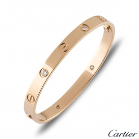 Cartier Rose Gold Half Diamond Love Bracelet Size 20 B6036020